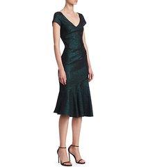 cap sleeve v-neck flounce dress