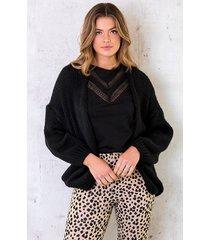 oversized knitted vest zwart