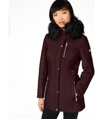 calvin klein faux-fur trim hooded quilted coat