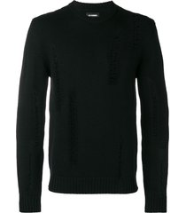 les hommes distressed detail sweater - black