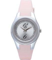 manhattan - orologio rosa in silicone, ghiera argento, quadrante bianco per donna