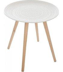 stolik kawowy z ozodbnym blatem biały