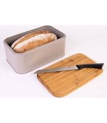 chlebak metalowy z deską do krojenia szary