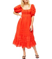 women's free people let's be friends midi dress, size x-small - red