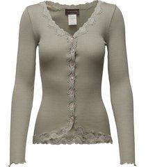 silk cardigan ls w/ lace gebreide trui cardigan groen rosemunde