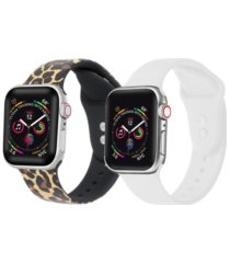 unisex leopard and white 2-pack replacement band for apple watch, 38mm