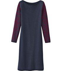 basic-jurk met bio-merinowol en jacquard mouwen, nachtblauw-motief