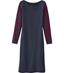 basic-jurk met bio-merinowol en jacquard mouwen, nachtblauw-motief 36/38