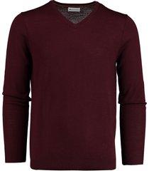 bos bright blue cas v-neck pullover flat knit 19305ca21bo/680 aubergine