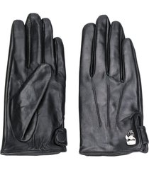 karl lagerfeld pin-embellished pebbled gloves - black