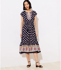 loft border floral tasseled drawstring midi dress