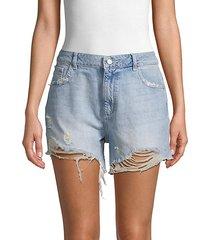 hepbrun high-rise distressed denim shorts