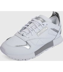 tenis lifestyle blanco-plateado reebok classic leather