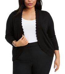 belldini plus size scalloped open-front cardigan