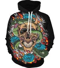 skull pattern casual hoodie