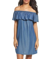 tommy bahama off the shoulder chambray cover-up dress, size small at nordstrom