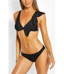 driehoekige bikini met ruches, zwart
