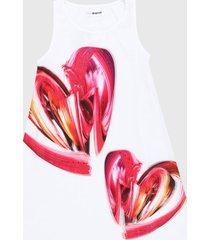 vestido blanco-rojo desigual
