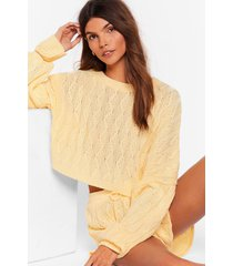 womens got cable knit sweater and shorts lounge set - lemon