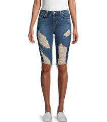 l'agence women's pismo distressed denim bermuda shorts - blue - size 31 (10)