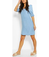 chambray shirred back shift dress, light blue