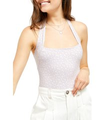 women's free people talk back duo compression halter bodysuit, size x-large - purple