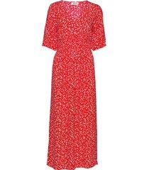 chano print dress maxi dress galajurk rood modström