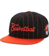 nike pro sports specialities script embroidered ball cap in black/chile red at nordstrom