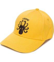 mini rodini octopus embroidered baseball cap - yellow