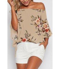 blusa con abertura en los hombros y estampado floral al azar en caqui
