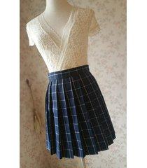 navy blue plaid skirt girl pleated plaid skirt school style plaid skirt us0-us16