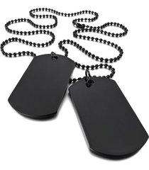 dijes collar identificacion militar 2 unidades 334 negro
