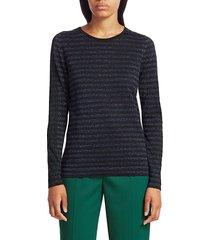 akris punto metallic stripe lurex-wool knit top - black night - size 8