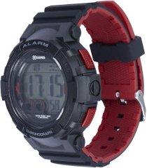 relógio digital x games xmppd529 - masculino - preto/vermelho