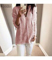zanzea mujeres mullido informal de manga larga sudaderas con capucha holgada túnica de la blusa tops camisa -rosado