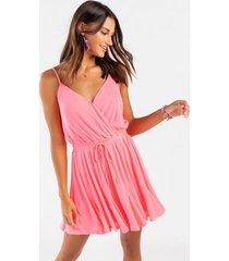 cleo surplice godet dress - neon pink