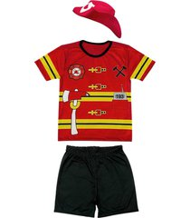 fantasia bombeiro shorts e camiseta douvelin vermelho - amarelo/preto/vermelho - menino - poliã©ster - dafiti