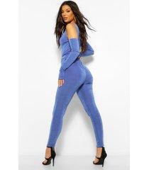 strakke leggings met textuur en ruches, blauw