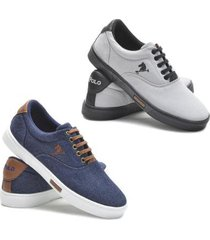 kit 2 pares sapatênis polo joy lona casual confort - masculino