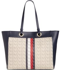 tommy hilfiger maya logo twill tote, created for macy's