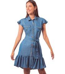 vestido adrissa camisero efecto denim con boleros azul claro