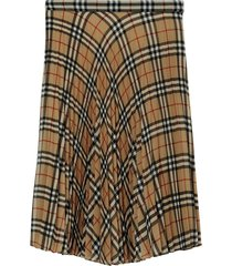 burberry vintage check chiffon pleated skirt - brown