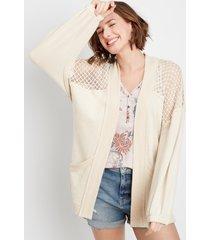 maurices womens oatmeal crochet open front cardigan beige