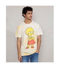camiseta masculina estampada manga curta tie dye lisa simpson gola careca amarela