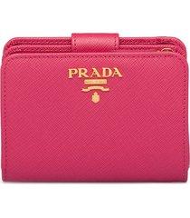 prada logo-plaque square wallet - pink