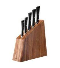 jogo de facas com cepo okinawa 5 peças - home style