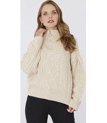 sweater cierres crudo  mujer corona