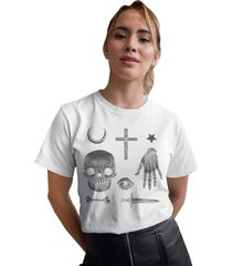camiseta basica my t-shirt amuletos creep branca