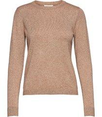 objthess l/s o-neck knit pullover noos stickad tröja brun object