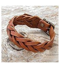 leather braided wristband bracelet, 'everyday charm in chestnut' (thailand)